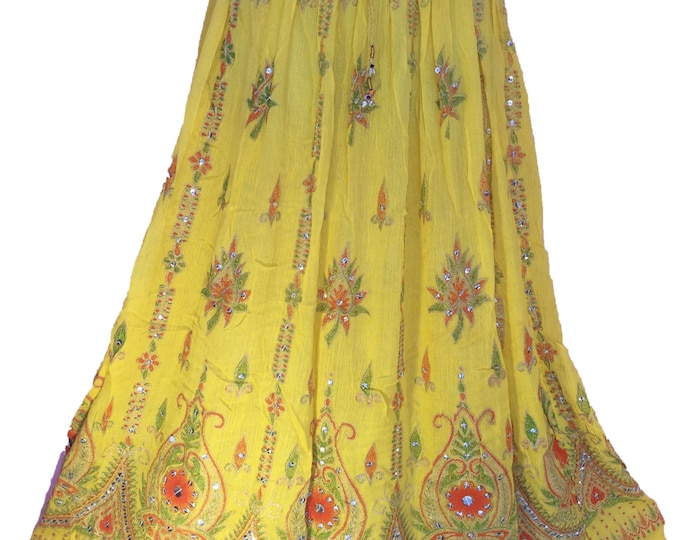 Sunny Yellow Skirt, Boho Gypsy Elegant Skirt, Bollywood India Skirt, Long Sequin Skirt, Belly Dance Skirt, Summer Skirt, Beach Park Skirt