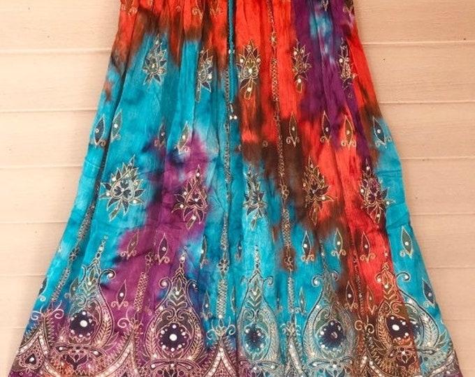 ON SALE Orange Turquoise Purple Tie Dye Skirt, Boho Gypsy Elegant Skirt, Bollywood India Skirt, Long Sequin Skirt, Belly Dance Skirt, Fall S