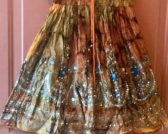 Gold Tie Dye Short Sequin Skirt, Boho Gypsy Skirt, Bollywood India Skirt, Mini Midi Sequin Skirt, Beach Park Summer Fashion Skirt