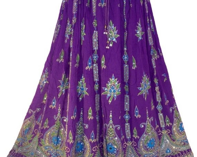 ON SALE Purple Skirt, Boho Gypsy Elegant Skirt, Bollywood India Skirt, Long Sequin Skirt, Belly Dance Skirt, Summer Skirt, Beach Park Skirt