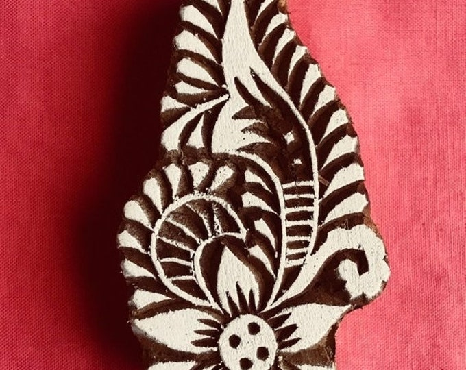 ON SALE Paisley Flower Hand carved Wooden Block Stamp for textile printing, scrapbooking, henna, pottery, school arts crafts project, Indian