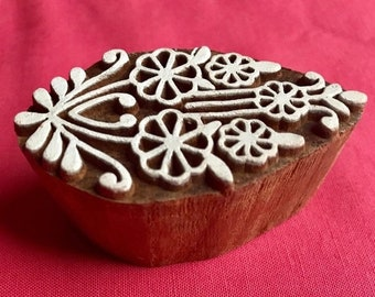 ON SALE Hand carved Flowers Bouquet Wooden Block Stamp, for textile printing, scrapbooking, henna, pottery school arts crafts projects desig