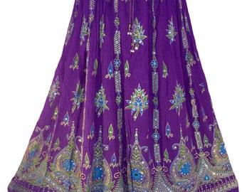 Purple Skirt, Boho Gypsy Elegant Skirt, Bollywood India Skirt, Long Sequin Skirt, Belly Dance Skirt, Summer Skirt, Beach Park Skirt