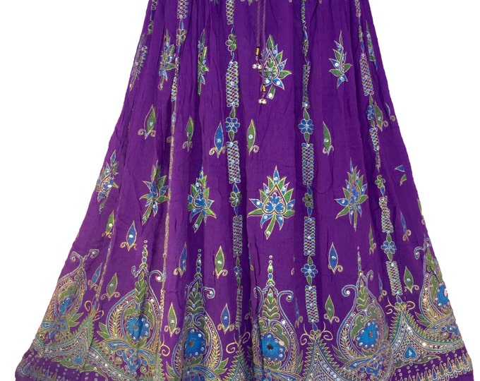 Purple Skirt, Boho Gypsy Elegant Skirt, Bollywood India Skirt, Long Sequin Skirt, Belly Dance Skirt, Summer Skirt, Beach Park Skirt