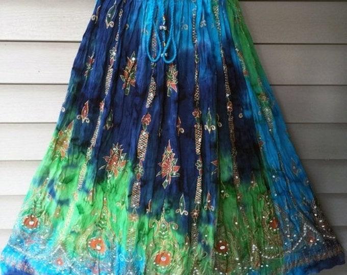 ON SALE Green Blue Tie Dye Skirt, Boho Gypsy Elegant Skirt, Bollywood India Skirt, Long Sequin Skirt, Belly Dance Skirt, Fall Skirt, Park Sk