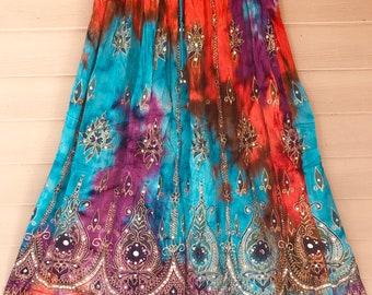 Orange Turquoise Purple Tie Dye Skirt, Boho Gypsy Elegant Skirt, Bollywood India Skirt, Long Sequin Skirt, Belly Dance Skirt, Fall Skirt