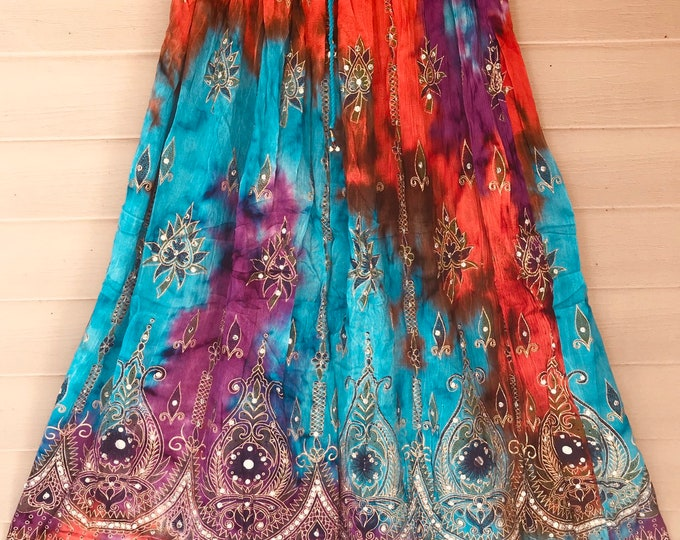 Orange Turquoise Purple Tie Dye Skirt, Boho Gypsy Elegant Skirt, Bollywood India Skirt, Long Sequin Skirt, Belly Dance Skirt, Fall Skirt