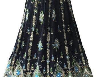 ON SALE Black Skirt with Blue Green, Boho Gypsy Elegant Skirt, Bollywood India Skirt, Long Sequin Skirt, Belly Dance Skirt, Summer Beach Par