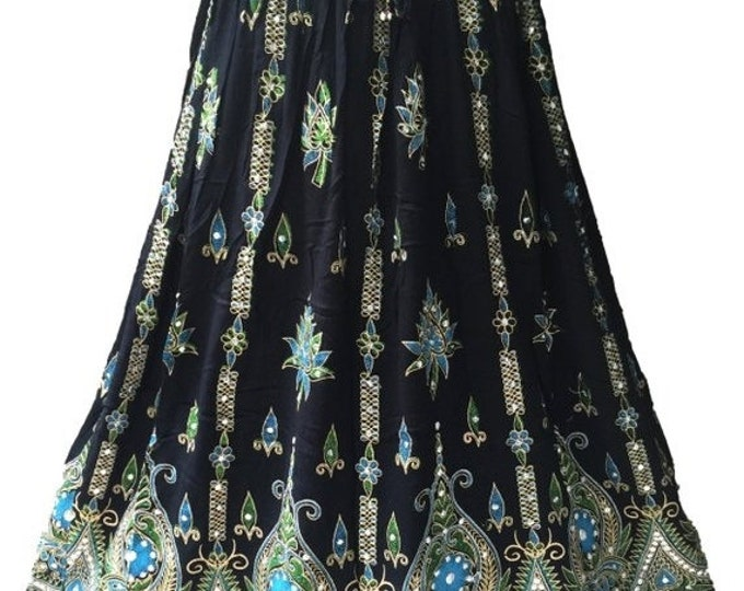 ON SALE Black Skirt with Blue Green, Boho Gypsy Elegant Skirt, Bollywood India Skirt, Long Sequin Skirt, Belly Dance Skirt, Summer Beach Par