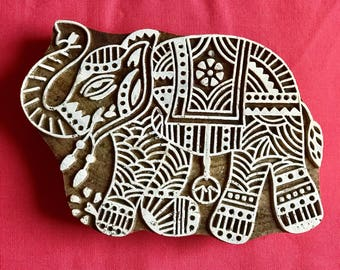 Hand carved Wooden Large Elephant Block Stamp for textile t-shirt fabric printing, scrapbooking, henna, clay work, pottery, India design