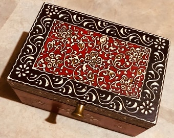 Red Black Keepsake Jewelry Treasure Chest, Trinket wood box from India for women, indian wedding gift Diwali gift, Christmas gifts