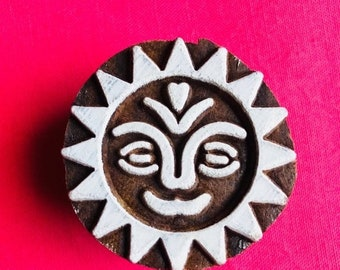 ON SALE Morning Sun Hand carved Wooden Round Block Stamp for textile Fabric printing, scrapbooking, henna, clay & art work, pottery, Indian