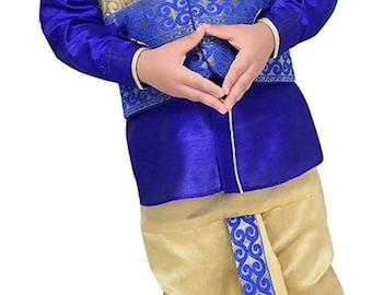 ON SALE Boys Royal Blue Dhoti Kurta set with vest, Ethnic Indian wedding, Diwali traditional, Navratri, Dussehra, Pooja, Birthday party boys