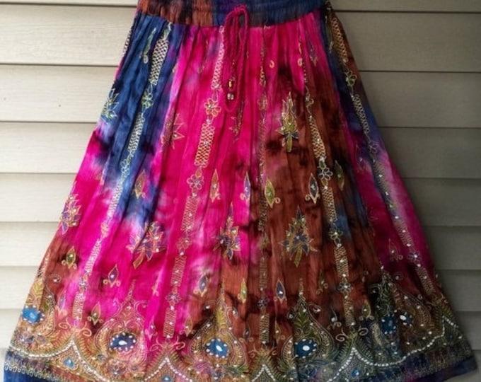 ON SALE Pink Tie Dye Skirt, Boho Gypsy Elegant Skirt, Bollywood India Skirt, Long Sequin Skirt, Belly Dance Skirt, Summer Skirt, Beach Park