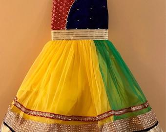 Kids Girls Yellow Party wear Dress for India wedding, Diwali, Holi, Easter, Birthday, Marriage, Onam, Dussehra, Garba, Navratri, Ganesha