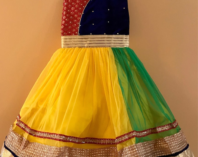 Kids Girls Yellow Party wear Dress for India wedding, Diwali, Holi, Easter, Birthday, Marriage, Onam, Dussehra, Garba, Navratri, Ganesha