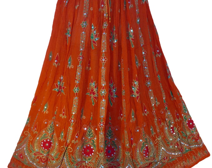 Orange Skirt, Boho Gypsy Elegant Skirt, Bollywood India Skirt, Bohemian Long Sequin Skirt, Belly Dance Skirt, Summer Skirt, Beach Park Skirt