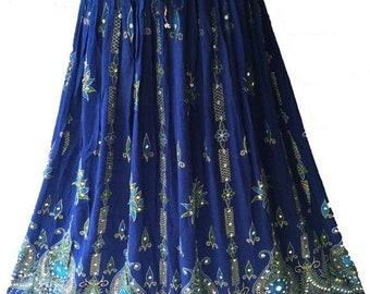 ON SALE Blue Skirt, Boho Gypsy Elegant Skirt, Bollywood India Skirt, Long Sequin Skirt, Belly Dance Skirt, Summer Skirt, Beach Park Party Sk