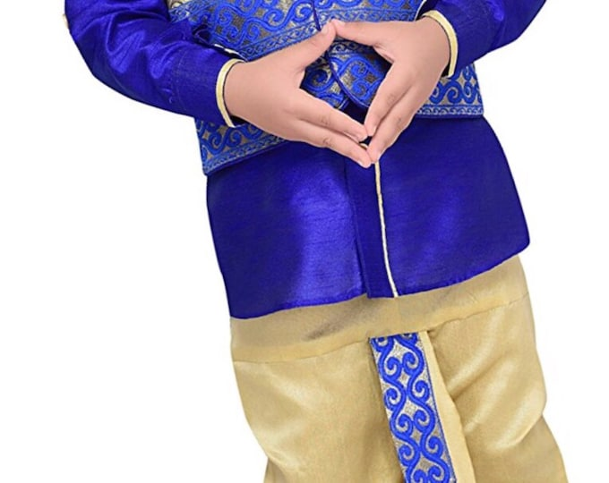Boys Royal Blue Dhoti Kurta set with vest, Ethnic Indian wedding, Diwali traditional, Navratri, Dussehra, Pooja, Birthday party boys outfit