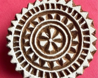 ON SALE Hand carved Wooden Round Block Stamp for textile Fabric printing, scrapbooking, henna, clay work, pottery, Indian design, Arts and C