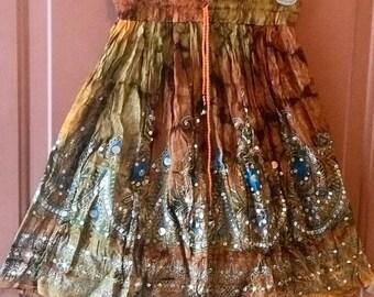 ON SALE Gold Tie Dye Short Sequin Skirt, Boho Gypsy Skirt, Bollywood India Skirt, Mini Midi Sequin Skirt, Beach Park Summer Fashion Skirt