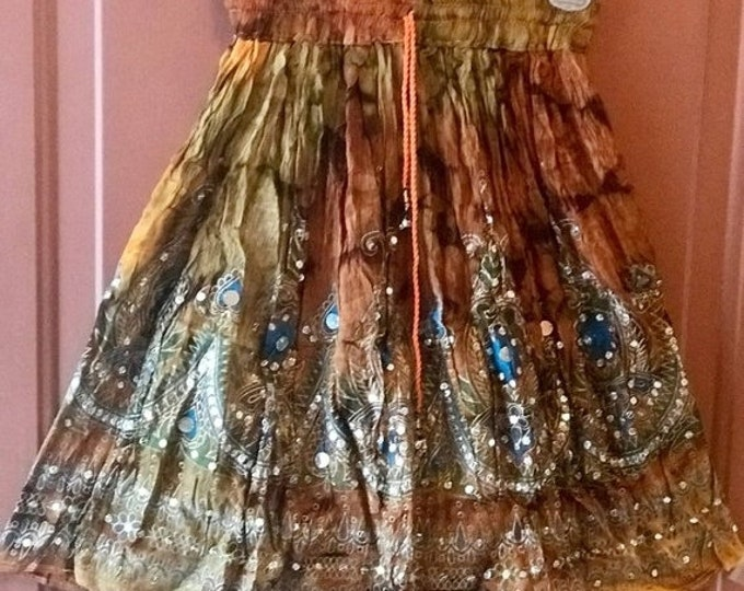 ON SALE Gold Tie Dye Short Sequin Skirt, Boho Gypsy Skirt, Bollywood India Skirt, Mini Midi Sequin Skirt, Beach Park Summer Fashion Skirt