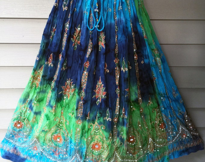 Green Blue Tie Dye Skirt, Boho Gypsy Elegant Skirt, Bollywood India Skirt, Long Sequin Skirt, Belly Dance Skirt, Fall Skirt, Park Skirt