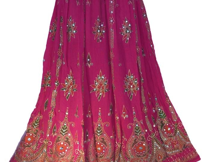 Hot Pink Skirt, Boho Gypsy Elegant Skirt, Bollywood India Skirt, Long Sequin Skirt, Belly Dance Skirt, Summer Skirt, Beach Park Skirt