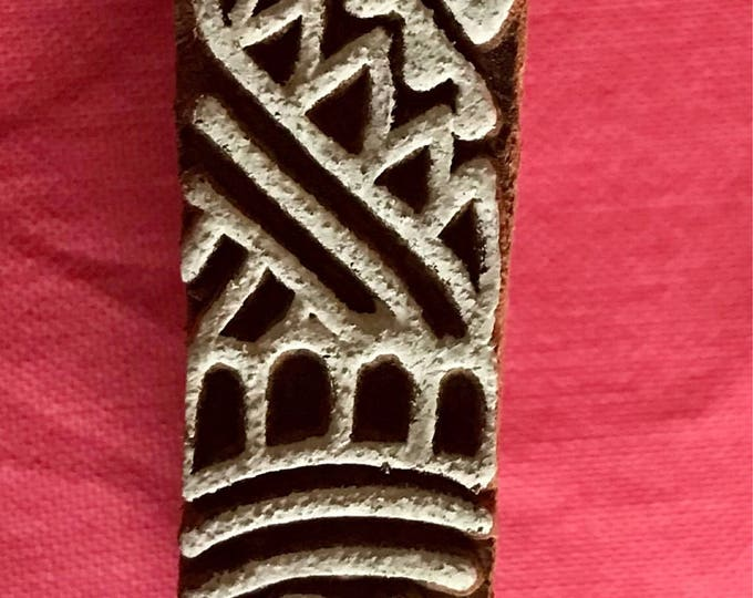 Hand carved Wooden Border Finger Block Stamp for textile printing, scrapbooking, henna fingers, pottery, Indian design