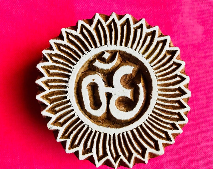 Om Hand carved Wooden Round Block Stamp for textile Fabric printing, scrapbooking, henna, clay work, pottery, Indian design, Art projects