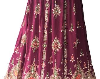 Vibrant Maroon Festive Long Skirt / Dress, Boho Gypsy Elegant Skirt, Bollywood India Skirt, Sequin Skirt, Belly Dance Skirt, Bohemian skirt