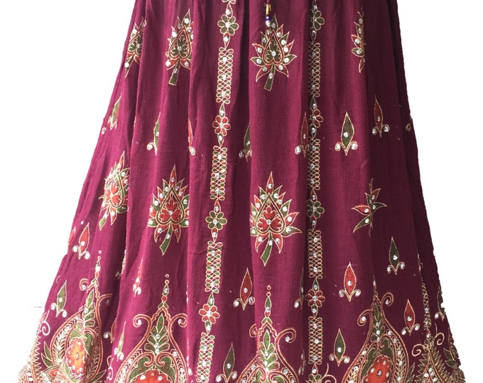 Vibrant Maroon Festive Long Skirt / Dress, Boho Gypsy Elegant Skirt, Bollywood India Skirt, Sequin Skirt, Belly Dance Skirt, Bohemian skirt