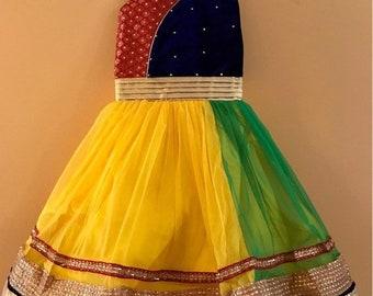 ON SALE Kids Girls Yellow Party wear Dress for India wedding, Diwali, Holi, Easter, Birthday, Marriage, Onam, Dussehra, Garba, Navratri, Gan