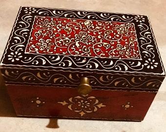 Small Red Black keepsake box from India, handmade wood treasure chest and trinket box, women's and men's organizer, jewelry box, memory box