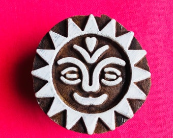 Morning Sun Hand carved Wooden Round Block Stamp for textile Fabric printing, scrapbooking, henna, clay & art work, pottery, Indian design