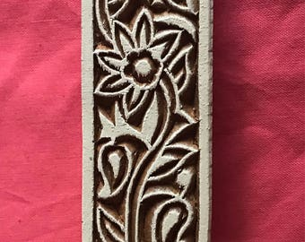 Hand carved Wooden Border Flower Block Stamp for textile printing, scrapbooking, henna, pottery, Indian design
