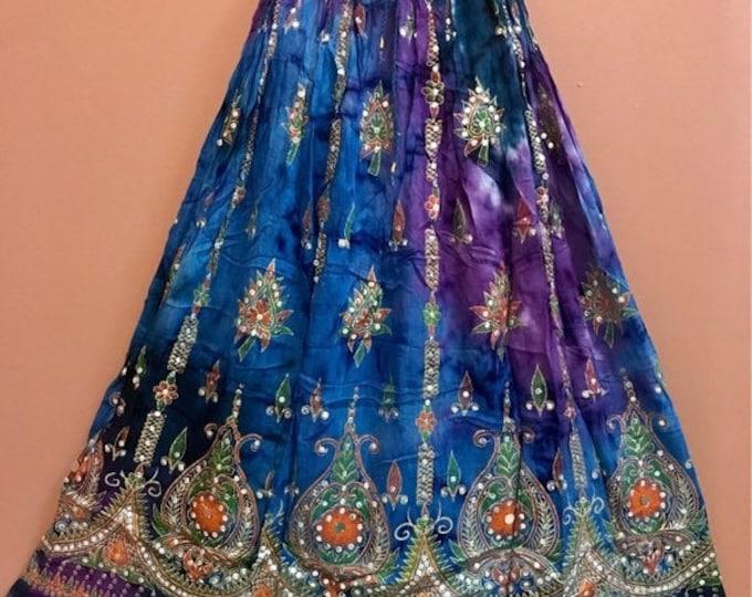 ON SALE Blue Purple Tie Dye Skirt, Boho Gypsy Elegant Skirt, Bollywood India Skirt, Long Sequin Skirt, Belly Dance Skirt, Fall Skirt, Park S