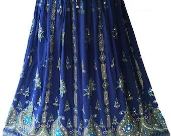 Blue Skirt, Boho Gypsy Elegant Skirt, Bollywood India Skirt, Long Sequin Skirt, Belly Dance Skirt, Summer Skirt, Beach Park Party Skirt