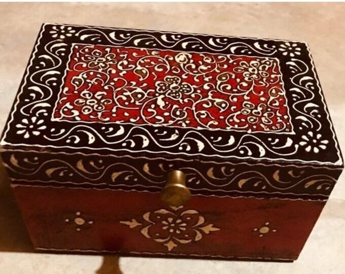 50% SALE Small Red Black keepsake box from India, handmade wood treasure chest and trinket box, women's and men's organizer, jewelry box, me