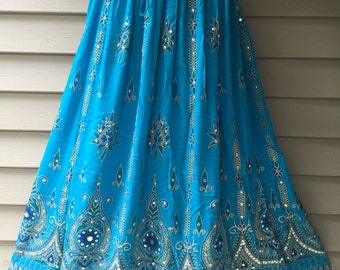 Turquoise Blue Skirt, Boho Gypsy Elegant Skirt, Bollywood India Skirt, Long Sequin Skirt, Belly Dance Skirt, Summer Beach Park Party Skirt