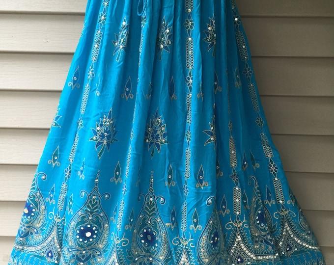Turquoise Blue Skirt, Boho Gypsy Elegant Skirt, Bollywood India Skirt, Long Sequin Skirt, Belly Dance Skirt, Summer Beach Park Party Skirt