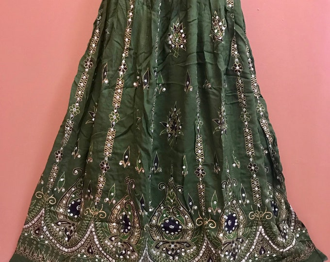 Sparkling Green Skirt, Boho Gypsy Skirt, Bollywood India Party Skirt, Long Sequin Belly Dance Skirt, Summer Skirt, Bohemian Skirt Dress