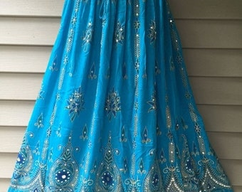 ON SALE Turquoise Blue Skirt, Boho Gypsy Elegant Skirt, Bollywood India Skirt, Long Sequin Skirt, Belly Dance Skirt, Summer Beach Park Party