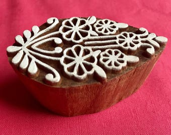 Hand carved Flowers Bouquet Wooden Block Stamp, for textile printing, scrapbooking, henna, pottery school arts crafts projects designs India