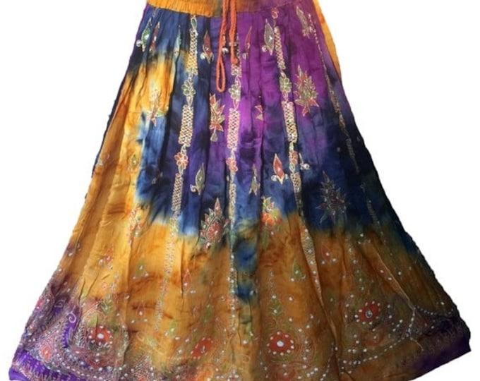 ON SALE Purple Gold Tie Dye Skirt, Boho Gypsy Elegant Skirt, Bollywood India Skirt, Long Sequin Skirt, Belly Dance Skirt, Fall Skirt, Park S