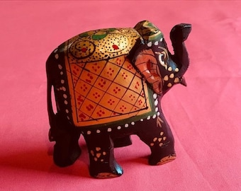 ON SALE Small Elephant Statue Hand painted wooden for home decor good fortune luck collectibles trunk up India design Birthday Wedding Diwal