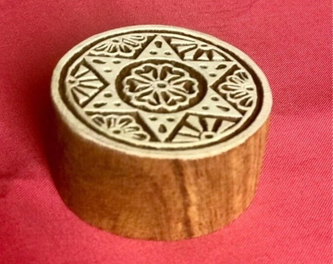 ON SALE Hand carved Wooden Round Block Stamp for textile printing, scrapbooking, henna, pottery, Indian design