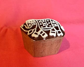 Hand carved Wooden Small Elephant Block Stamp for textile t-shirt fabric printing, scrapbooking, henna, clay work, pottery, Indian design