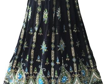 Black Skirt with Blue Green, Boho Gypsy Elegant Skirt, Bollywood India Skirt, Long Sequin Skirt, Belly Dance Skirt, Summer Beach Park Skirt