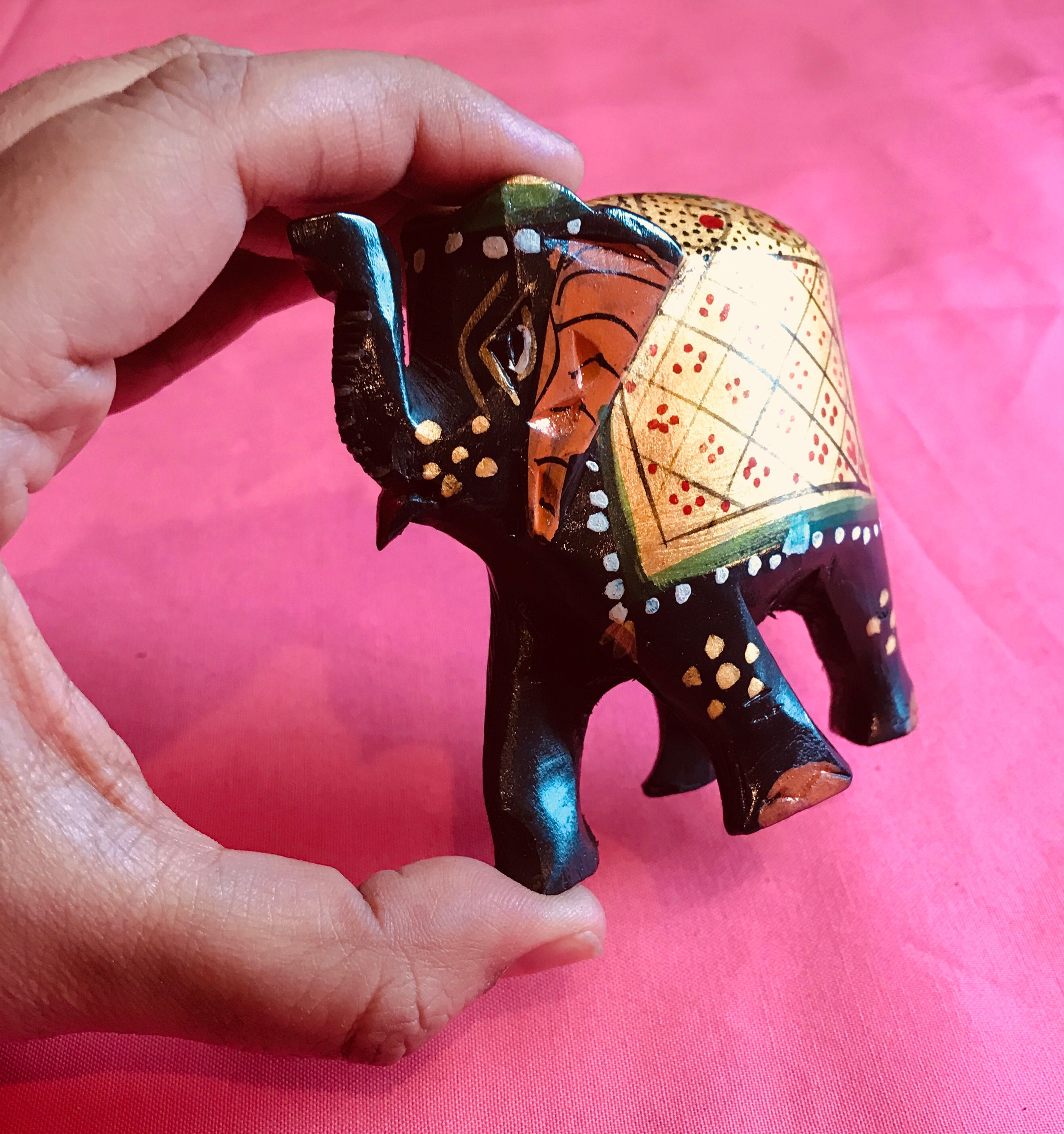 Small Elephant Decor: Small Elephant Statue Hand Painted Wooden For Home Decor